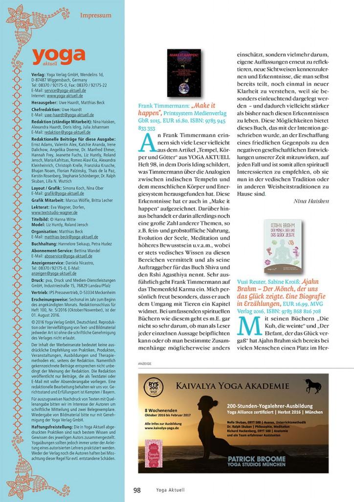 Rezension Buch Make it Happen Frank Timmermann - von Nina Haisken Yoga Aktuell Ausgabe 99